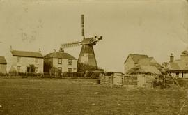View from across the field, smock mill, Shepherdswell