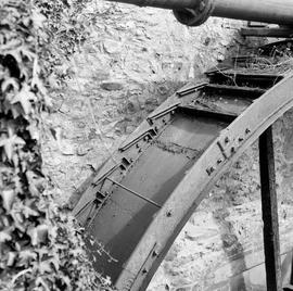 Detail of wheel showing brackets to hold the buckets, Sadborow Mill, Thornecombe