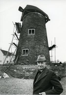 View of the mill during restoration, with Mr Field