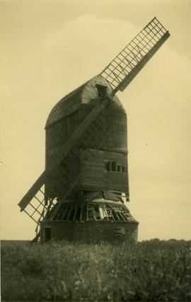 Post mill, Riseley, in a disused and derelict condition