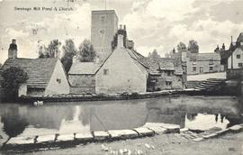 Old Mill, Swanage, pond and church