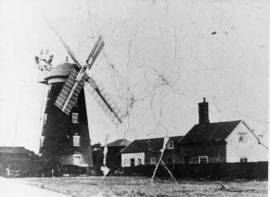 Tower mill, Debenham, with buildings