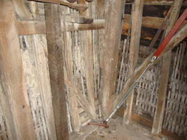 Spout floor framing showing lathwork and plastering, Six Mile Bottom Mill, Burrough Green