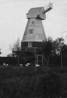 Beacon Mill, Benenden, preserved minus sweeps, with hens