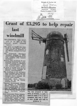 """""Grant of £3,295 to help repair last windmill"""