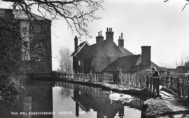 Mill race and workers cottages, watermill, Robertsbridge