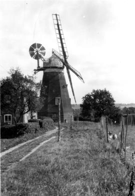 Smock mill, complete with cap and fantail, Lower Mill, Dalham