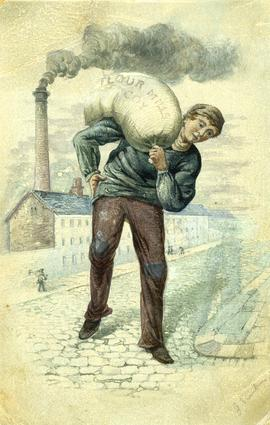 Watercolour of flour mill worker