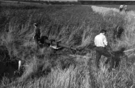Salvage team with windshaft, Westwood Marshes Mill, Walberswick