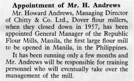 Appointment of Mr. H. Andrews