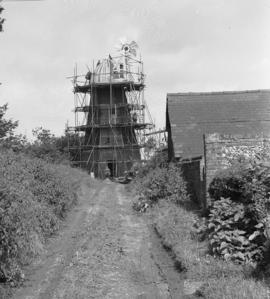 Smock mill, Great Thurlow, scaffolded for repair