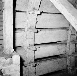 Detail view showing an interior section of the waterwheel, Romford Mill, Verwood