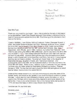 Letter from D Moon regarding family of Caleb Oyler Russell