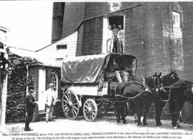 Horsedrawn mill cart photograph, in front of Union Mill