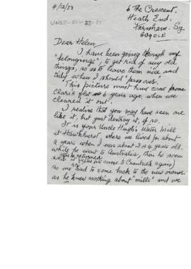 Letter from Prissy Reeves to Helen (?Wilson), handwritten