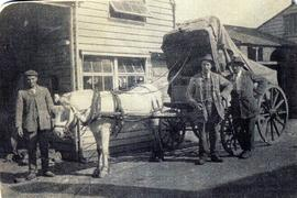 Photograph of Russell brothers with small pony cart