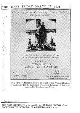 Copy of SPAB No 1 Certificate as it appeared in the Times Newspaper.